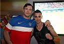 LAS VEGAS, NV - JULY 1:  Forrest Griffin watches the 2014 FIFA World Cup Brazil Round of 16 match between USA and Belgium with fans to kick off the UFC International Fight Week at Legasse's Stadium at The Palazzo Las Vegas on July 1, 2014 in Las Vegas, Nevada. (Photo by Brandon Magnus/Zuffa LLC/Zuffa LLC via Getty Images)