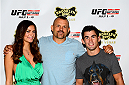LAS VEGAS, NV - JULY 2: (L-R) UFC Octagon Girl Vanessa Hanson and UFC Fighters Chuck Liddell and Dominick Cruz arrive at the UFC's Advance Screening of the Twentieth Century Fox film 'Let's Be Cops' during UFC International Fight Week at Brooklyn Bowl Las Vegas at The LINQ on July 2, 2014 in Las Vegas, Nevada. (Photo by Brandon Magnus/Zuffa LLC/Zuffa LLC via Getty Images)