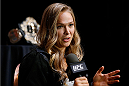 LAS VEGAS, NV - JULY 03:  UFC women's bantamweight champion Ronda Rousey interacts with media during the UFC Ultimate Media Day at the Mandalay Bay Resort and Casino on July 3, 2014 in Las Vegas, Nevada.  (Photo by Josh Hedges/Zuffa LLC/Zuffa LLC via Getty Images)