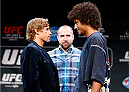 LAS VEGAS, NV - JULY 03:  (L-R) Opponents Urijah Faber and Alex Caceres face off during the UFC Ultimate Media Day at the Mandalay Bay Resort and Casino on July 3, 2014 in Las Vegas, Nevada.  (Photo by Josh Hedges/Zuffa LLC/Zuffa LLC via Getty Images)