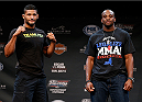 LAS VEGAS, NV - JULY 03:  (L-R) Opponents Dhiego Lima and Eddie Gordon pose for photos during the UFC Ultimate Media Day at the Mandalay Bay Resort and Casino on July 3, 2014 in Las Vegas, Nevada.  (Photo by Josh Hedges/Zuffa LLC/Zuffa LLC via Getty Images)