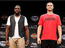 LAS VEGAS, NV - JULY 03:  (L-R) Opponents Corey Anderson and Matt Van Buren pose for photos during the UFC Ultimate Media Day at the Mandalay Bay Resort and Casino on July 3, 2014 in Las Vegas, Nevada.  (Photo by Josh Hedges/Zuffa LLC/Zuffa LLC via Getty Images)