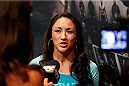 LAS VEGAS, NV - JULY 03:  The Ultimate Fighter season 20 cast member Carla Esparza interacts with media during the UFC Ultimate Media Day at the Mandalay Bay Resort and Casino on July 3, 2014 in Las Vegas, Nevada.  (Photo by Josh Hedges/Zuffa LLC/Zuffa LLC via Getty Images)