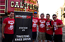 LAS VEGAS, NV - JULY 4:  Matt Hughes and a team of coaches set up the third workout station in the first annual Ulti-man 5K run during UFC International Fight Week at Hogs and Heifers on July 4, 2014 in Las Vegas, Nevada. Proceeds will help support Three Square Food Bank. (Photo by Brandon Magnus/Zuffa LLC/Zuffa LLC via Getty Images)