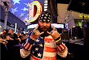 LAS VEGAS, NV - JULY 4:  A fan waits for P.O.D. perform during UFC International Fight Week Free Concert Featuring Lit, P.O.D., and Papa Roach at the Fremont Street Experience Las Vegas on July 2, 2014 in Las Vegas, Nevada. (Photo by Brandon Magnus/Zuffa LLC/Zuffa LLC via Getty Images)