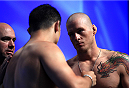 LAS VEGAS, NV - JULY 5: (L-R) Patrick Walsh faces off against Daniel Spohn during the TUF 19 Finale weigh-in inside the Mandalay Bay Convention Center on July 5, 2014 in Las Vegas, Nevada.(Photo by Brandon Magnus/Zuffa LLC/Zuffa LLC via Getty Images)