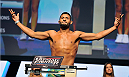 LAS VEGAS, NV - JULY 05:  Mixed martial artist Dhiego Lima poses on the scale during the TUF 19 Finale weigh-in at the Mandalay Bay Convention Center on July 5, 2014 in Las Vegas, Nevada.  (Photo by David Becker/Zuffa LLC/Zuffa LLC via Getty Images)