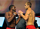 LAS VEGAS, NV - JULY 05:  Mixed martial artists Corey Anderson (L) and Matt Van Buren face off during the TUF 19 Finale weigh-in at the Mandalay Bay Convention Center on July 5, 2014 in Las Vegas, Nevada.  (Photo by David Becker/Zuffa LLC/Zuffa LLC via Getty Images)