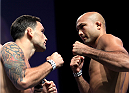LAS VEGAS, NV - JULY 5: (L-R) Frankie Edgar faces off against BJ Penn during the TUF 19 Finale weigh-in inside the Mandalay Bay Convention Center on July 5, 2014 in Las Vegas, Nevada.(Photo by Brandon Magnus/Zuffa LLC/Zuffa LLC via Getty Images)