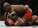 LAS VEGAS, NV - JULY 05:  Kevin Casey (Top) hits Bubba Bush with an elbow in their middleweight fight at UFC 175 inside the Mandalay Bay Events Center on July 5, 2014 in Las Vegas, Nevada.  (Photo by Josh Hedges/Zuffa LLC/Zuffa LLC via Getty Images)