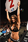 LAS VEGAS, NV - JULY 05:  UFC Octagon Girl Arianny Celeste introduces the second round during UFC 175 inside the Mandalay Bay Events Center on July 5, 2014 in Las Vegas, Nevada.  (Photo by Donald Miralle/Zuffa LLC/Zuffa LLC via Getty Images)