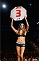 LAS VEGAS, NV - JULY 05:  UFC Octagon Girl Vanessa Hanson introduces the third round during UFC 175 inside the Mandalay Bay Events Center on July 5, 2014 in Las Vegas, Nevada.  (Photo by Josh Hedges/Zuffa LLC/Zuffa LLC via Getty Images)