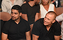LAS VEGAS, NV - JULY 05:  (L-R) Wilmer Valderramaand George St. Pierre watches Uraih Hall and Thiago Santos in their middleweight fight at UFC 175 inside the Mandalay Bay Events Center on July 5, 2014 in Las Vegas, Nevada.  (Photo by Donald Miralle/Zuffa LLC/Zuffa LLC via Getty Images)
