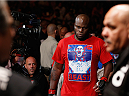 LAS VEGAS, NV - JULY 06:  Derrick Lewis enters the arena in their heavyweight fight against Guto Inocente during the Ultimate Fighter Finale inside the Mandalay Bay Events Center on July 6, 2014 in Las Vegas, Nevada.  (Photo by Josh Hedges/Zuffa LLC/Zuffa LLC via Getty Images)
