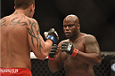 LAS VEGAS, NV - JULY 06:  (R-L) Derrick Lewis squares off with Guto Inocente in their middleweight fight during the Ultimate Fighter Finale inside the Mandalay Bay Events Center on July 6, 2014 in Las Vegas, Nevada.  (Photo by Jeff Bottari/Zuffa LLC/Zuffa LLC via Getty Images)