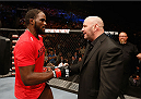 LAS VEGAS, NV - JULY 06:  (R-L) UFC President Dana White congratulates Corey Anderson after his light heavyweight fight against Matt Van Buren during the Ultimate Fighter Finale inside the Mandalay Bay Events Center on July 6, 2014 in Las Vegas, Nevada.  (Photo by Josh Hedges/Zuffa LLC/Zuffa LLC via Getty Images)