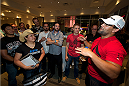 LAS VEGAS, NV - JULY 2:  UFC welterweight champion Johny Hendricks interacts with guests at the UFC LINQ High Roller charity auction takeover during UFC International Fight Week at The Las Vegas High Roller at The LINQ on July 2, 2014 in Las Vegas, Nevada. (Photo by Al Powers/Zuffa LLC/Zuffa LLC via Getty Images) *** Local Caption *** Johnny Hendricks
