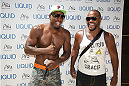 LAS VEGAS, NV - JULY 3:  Mixed martial artists Phil Davis (L) and Rashad Evans arrive at the UFC pool party during UFC International Fight Week at the Liquid Pool Lounge at the Aria Resort & Casino at CityCenter on July 3, 2014 in Las Vegas, Nevada. (Photo by Al Powers/Zuffa LLC/Zuffa LLC via Getty Images) *** Local Caption *** Phil Davis;Rashad Evans