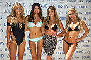 LAS VEGAS, NV - JULY 3:  (L-R) UFC Octagon Girls Chrissy Blair, Vanessa Hanson, Kahili Blundell and Carly Baker arrive at the UFC pool party during UFC International Fight Week at the Liquid Pool Lounge at the Aria Resort & Casino at CityCenter on July 3, 2014 in Las Vegas, Nevada. (Photo by Al Powers/Zuffa LLC/Zuffa LLC via Getty Images) *** Local Caption *** Chrissy Blair;Vanessa Hanson;Kahili Blundell;Carly Baker