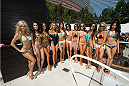 LAS VEGAS, NV - JULY 3:  UFC Octagon Girls pose at the UFC pool party during UFC International Fight Week at the Liquid Pool Lounge at the Aria Resort & Casino at CityCenter on July 3, 2014 in Las Vegas, Nevada. (Photo by Al Powers/Zuffa LLC/Zuffa LLC via Getty Images) *** Local Caption ***