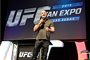 LAS VEGAS, NV - JULY 5:  UFC President Dana White speaks to fans during the UFC Fan Expo at the Mandalay Bay Convention Center on July 5, 2014 in Las Vegas, Nevada. (Photo by Todd Lussier/Zuffa LLC/Zuffa LLC via Getty Images) *** Local Caption ***Dana White