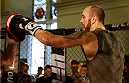 DUBLIN, IRELAND - JULY 16:  Zak Cummings holds an open training session during the UFC media day at Royal Hospital Kilmainham on July 16, 2014 in Dublin, Ireland. (Photo by Josh Hedges/Zuffa LLC/Zuffa LLC via Getty Images)