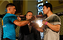 DUBLIN, IRELAND - JULY 16:  (L-R) Opponents Norman Parke and Naoyuki Kotani face off during the UFC media day at Royal Hospital Kilmainham on July 16, 2014 in Dublin, Ireland. (Photo by Josh Hedges/Zuffa LLC/Zuffa LLC via Getty Images)