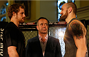 DUBLIN, IRELAND - JULY 16:  (L-R) Opponents Gunnar Nelson and Zak Cummings face off during the UFC media day at Royal Hospital Kilmainham on July 16, 2014 in Dublin, Ireland. (Photo by Josh Hedges/Zuffa LLC/Zuffa LLC via Getty Images)