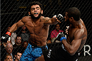 ATLANTIC CITY, NJ - JULY 16: (L-R) Hugo Viana swings at Aljamain Sterling in their bantamweight bout during the UFC Fight Night event at Revel Casino on July 16, 2014 in Atlantic City, New Jersey. (Photo by Jeff Bottari/Zuffa LLC/Zuffa LLC via Getty Images)