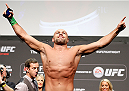 DUBLIN, IRELAND - JULY 18:  Cathal Pendred poses on the scale after weighing in during the UFC weigh-in event at The O2 on July 18, 2014 in Dublin, Ireland.  (Photo by Josh Hedges/Zuffa LLC/Zuffa LLC via Getty Images)