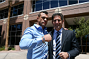 Vitor Belfort and his lawyer Michael Alonso stand outside of the Grant Sawyer State Office Building after the NSAC hearing on July 23, 2014. Belfort was granted a license to fight in Vegas on December 6 where he will take on current UFC middleweight champion Chris Weidman.