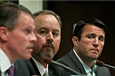 Former UFC middleweight Chael Sonnen is photographed along with his representatives during his hearing on July 23, 2014. Sonnen was suspended two years from competing in Las Vegas or anywhere else by the NSAC for his admitted use of banned substances earlier in 2014.