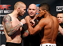 SAN JOSE, CA - JULY 25:  (L-R) Opponents Andreas Stahl and Gilbert Burns face off during the UFC fight night weigh-in at the SAP Center on July 25, 2014 in San Jose, California.  (Photo by Josh Hedges/Zuffa LLC/Zuffa LLC via Getty Images)