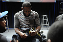 LOS ANGELES, CA - AUGUST 05:  Mixed martial artist Jon Jones signes an autograph after a UFC Q&A at LA Live on August 5, 2014 in Los Angeles, California.  (Photo by Jonathan Moore/Zuffa LLC/Zuffa LLC via Getty Images)