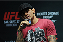 LOS ANGELES, CA - AUGUST 05:  Mixed martial artist Dustin Poirier talks during a UFC Q&A at LA Live on August 5, 2014 in Los Angeles, California.  (Photo by Jonathan Moore/Zuffa LLC/Zuffa LLC via Getty Images)