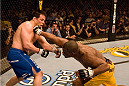 HOLLYWOOD, FL - JANUARY 25:  Rashad Evans (yellow shorts) def. Sean Salmon (blue shorts) - KO - 1:06 round 2 during UFC Fight Night 08 at the Hard Rock Live - Seminole Hard Rock Hotel & Casino on January 25, 2007 in Hollywood, Florida. (Photo by Josh Hedges/Zuffa LLC via Getty Images)