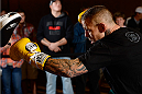 BANGOR, ME - AUG 14:   Ross Pearson holds an open training session for the media and fans at the Cross Insurance Center on August 14, 2014 in Bangor, Maine. (Photo by Jeff Bottari/Zuffa LLC/Zuffa LLC via Getty Images) *** Local Caption ***Ross Pearson
