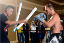 BANGOR, ME - AUG 14:   Gray Maynard (R) holds an open training session for the media and fans at the Cross Insurance Center on August 14, 2014 in Bangor, Maine. (Photo by Jeff Bottari/Zuffa LLC/Zuffa LLC via Getty Images) *** Local Caption ***Gray Maynard