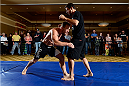 BANGOR, ME - AUG 14:   Gray Maynard (L) holds an open training session for the media and fans at the Cross Insurance Center on August 14, 2014 in Bangor, Maine. (Photo by Jeff Bottari/Zuffa LLC/Zuffa LLC via Getty Images) *** Local Caption ***Gray Maynard