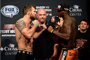 BANGOR, ME - AUG 15:  (L-R) Ryan Bader and Ovince Saint Preux face off during the UFC fight night weigh-in at the Cross Insurance Center on August 15, 2014 in Bangor, Maine. (Photo by Jeff Bottari/Zuffa LLC/Zuffa LLC via Getty Images)