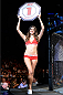 BANGOR, ME - AUGUST 16:  UFC Octagon Girl Vanessa Hanson signals the start of round one between Thiago Tavares and Robbie Peralta in their featherweight bout during the UFC fight night event at the Cross Insurance Center on August 16, 2014 in Bangor, Maine. (Photo by Jeff Bottari/Zuffa LLC/Zuffa LLC via Getty Images)