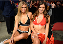BANGOR, ME - AUGUST 16:  (L-R) UFC Octagon Girls Chrissy Blair and Vanessa Hanson sits Octagonside after Alan Jouban defeated Seth Baczynski in their welterweight bout during the UFC fight night event at the Cross Insurance Center on August 16, 2014 in Bangor, Maine. (Photo by Jeff Bottari/Zuffa LLC/Zuffa LLC via Getty Images)
