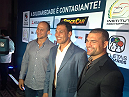 "Junior Dos Santos, Rodrigo Minotauro, and Mauricio ""Shogun"" Rua at the Solidary Athletes event in Brazil."