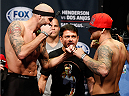 TULSA, OK - AUGUST 22: (L-R) Opponents Ben Saunders and Chris Heatherly face off during the UFC Fight Night weigh-in at the BOK Center on August 22, 2014 in Tulsa, Oklahoma. (Photo by Josh Hedges/Zuffa LLC/Zuffa LLC via Getty Images)