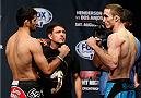 TULSA, OK - AUGUST 22: (L-R) Opponents Beneil Dariush of Iran and Tony Martin face off during the UFC Fight Night weigh-in at the BOK Center on August 22, 2014 in Tulsa, Oklahoma. (Photo by Josh Hedges/Zuffa LLC/Zuffa LLC via Getty Images)