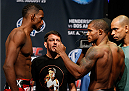 TULSA, OK - AUGUST 22: (L-R) Opponents Neil Magny and Alex Garcia of the Dominican Republic face off during the UFC Fight Night weigh-in at the BOK Center on August 22, 2014 in Tulsa, Oklahoma. (Photo by Josh Hedges/Zuffa LLC/Zuffa LLC via Getty Images)