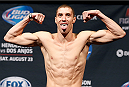 TULSA, OK - AUGUST 22: James Vick weighs in during the UFC Fight Night weigh-in at the BOK Center on August 22, 2014 in Tulsa, Oklahoma. (Photo by Josh Hedges/Zuffa LLC/Zuffa LLC via Getty Images)