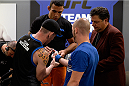 LAS VEGAS, NV - MAY 19:  Team Werdum fighter Bentley Syler gets his hands wrapped before facing team Velasquez fighter Jose Quionez in their preliminary fight during filming of The Ultimate Fighter Latin America on May 19, 2014 in Las Vegas, Nevada. (Photo by Jeff Bottari/Zuffa LLC/Zuffa LLC via Getty Images) *** Local Caption *** Bentley Syler