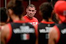 LAS VEGAS, NV - MAY 19:  Head Coach Cain Velasquez prepares to choose the fighters for the next fight during filming of The Ultimate Fighter Latin America on May 19, 2014 in Las Vegas, Nevada. (Photo by Jeff Bottari/Zuffa LLC/Zuffa LLC via Getty Images) *** Local Caption ***Cain Velasquez
