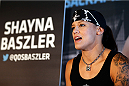 SACRAMENTO, CA - AUGUST 28:  Shayna Baszler interacts with media during the UFC 177 Ultimate Media Day at the Sleep Train Arena on August 28, 2014 in Sacramento, California. (Photo by Josh Hedges/Zuffa LLC/Zuffa LLC via Getty Images)
